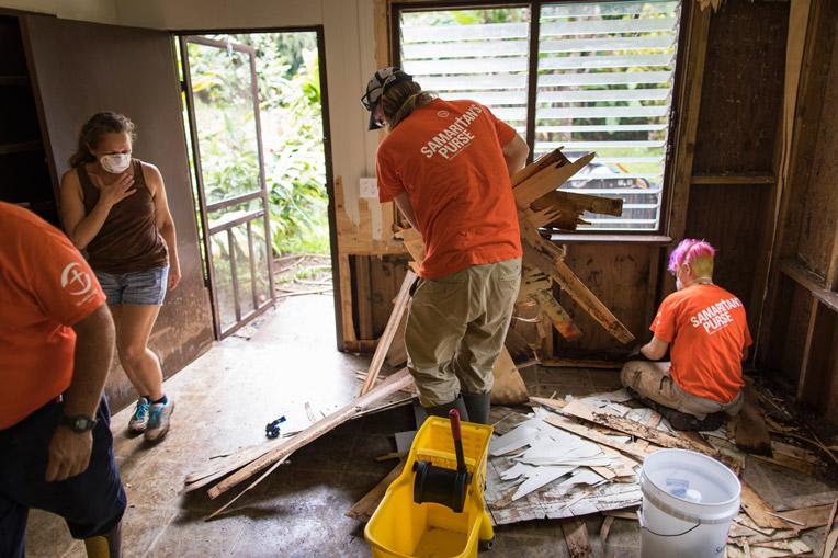 Samaritan's Purse Volunteers Cleaning Up House on Kauai