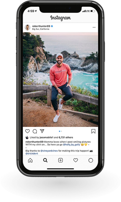 Robert Hunter Instagram on a Phone