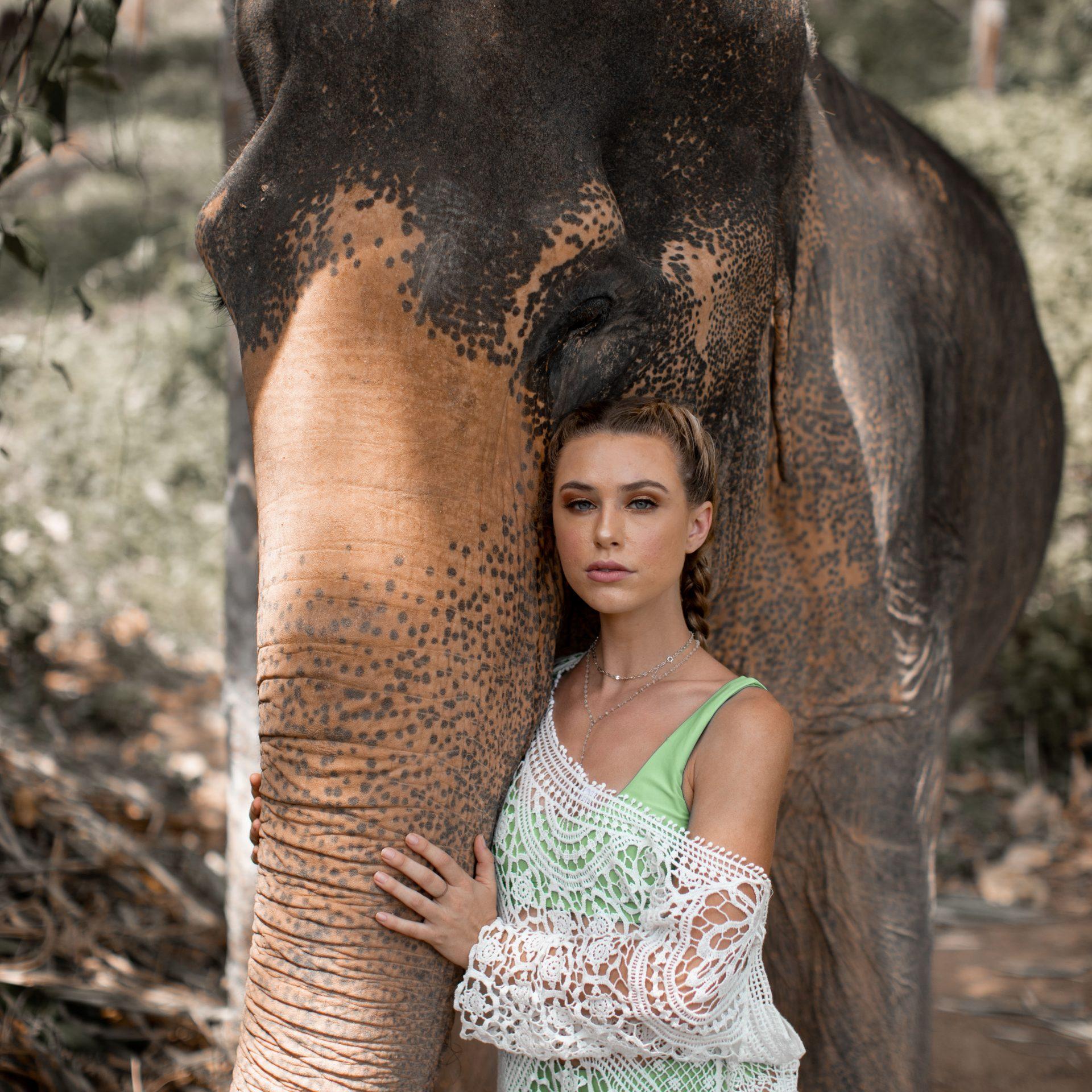 Elephant and Girl at Phuket Elephant Rehabilitation Sanctuary
